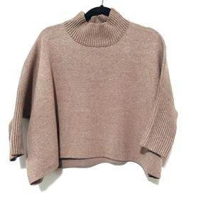 2for$30!! Camel poncho sweater with ribbed sleeves
